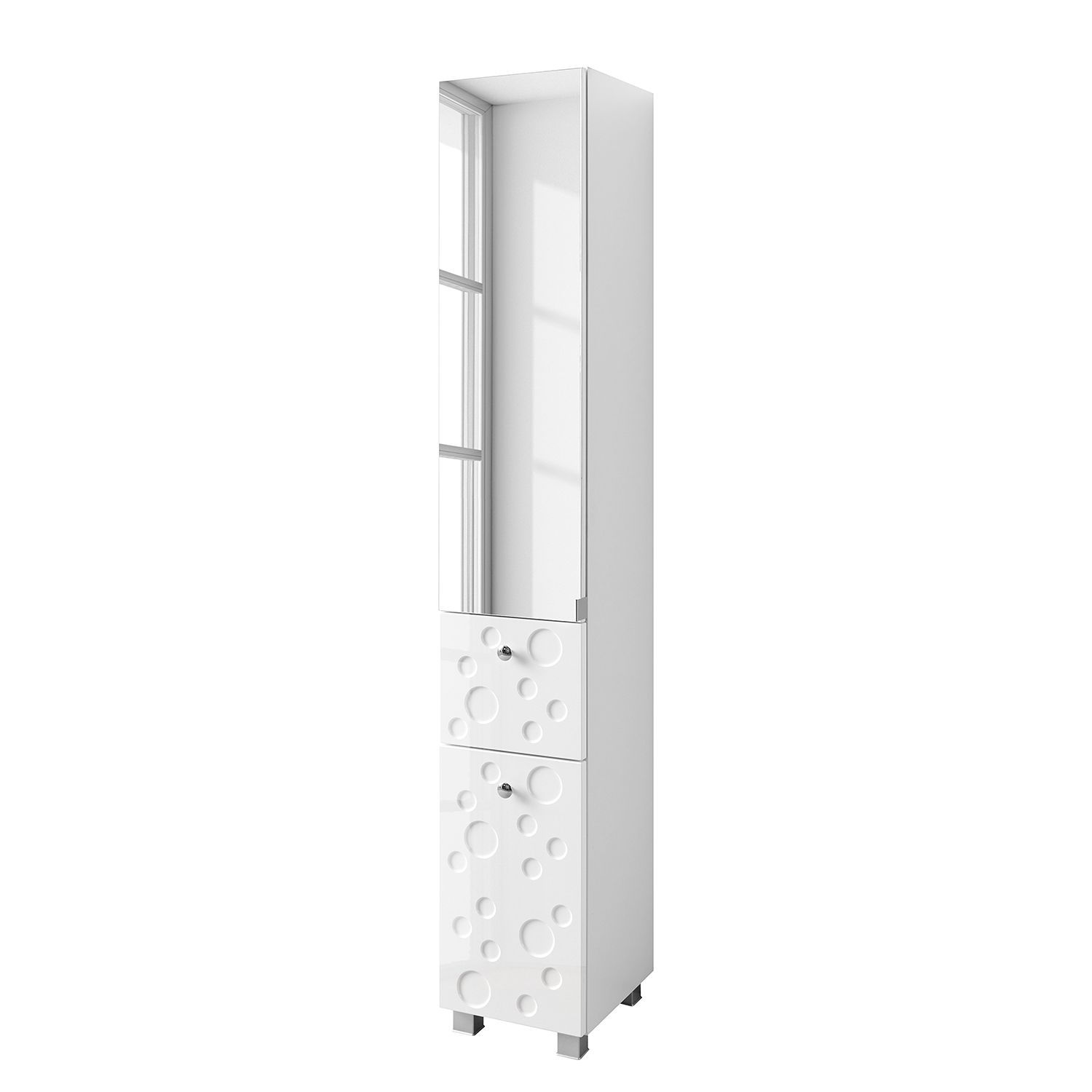 Armoire colonne Bubble I - Blanc brillant, Giessbach