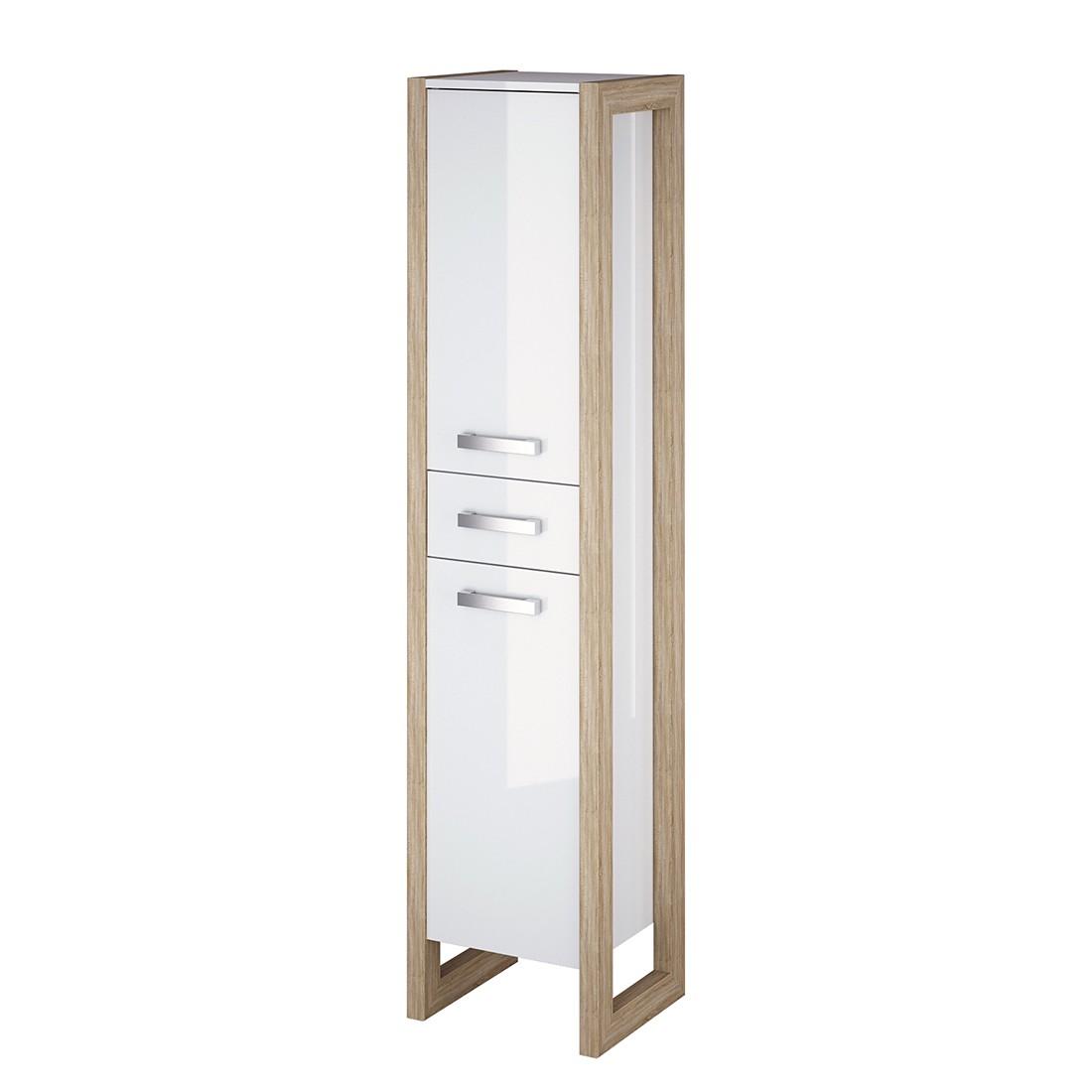 Mobiletto Kolind - Bianco lucido/Effetto quercia Sonoma Armadietto di media altezza Kolind - Bianco lucido/ Effetto quercia di Sonoma, Schildmeyer