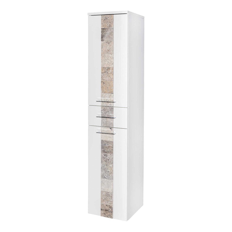 Armoire colonne Stone - Blanc brillant / Granite, Schildmeyer