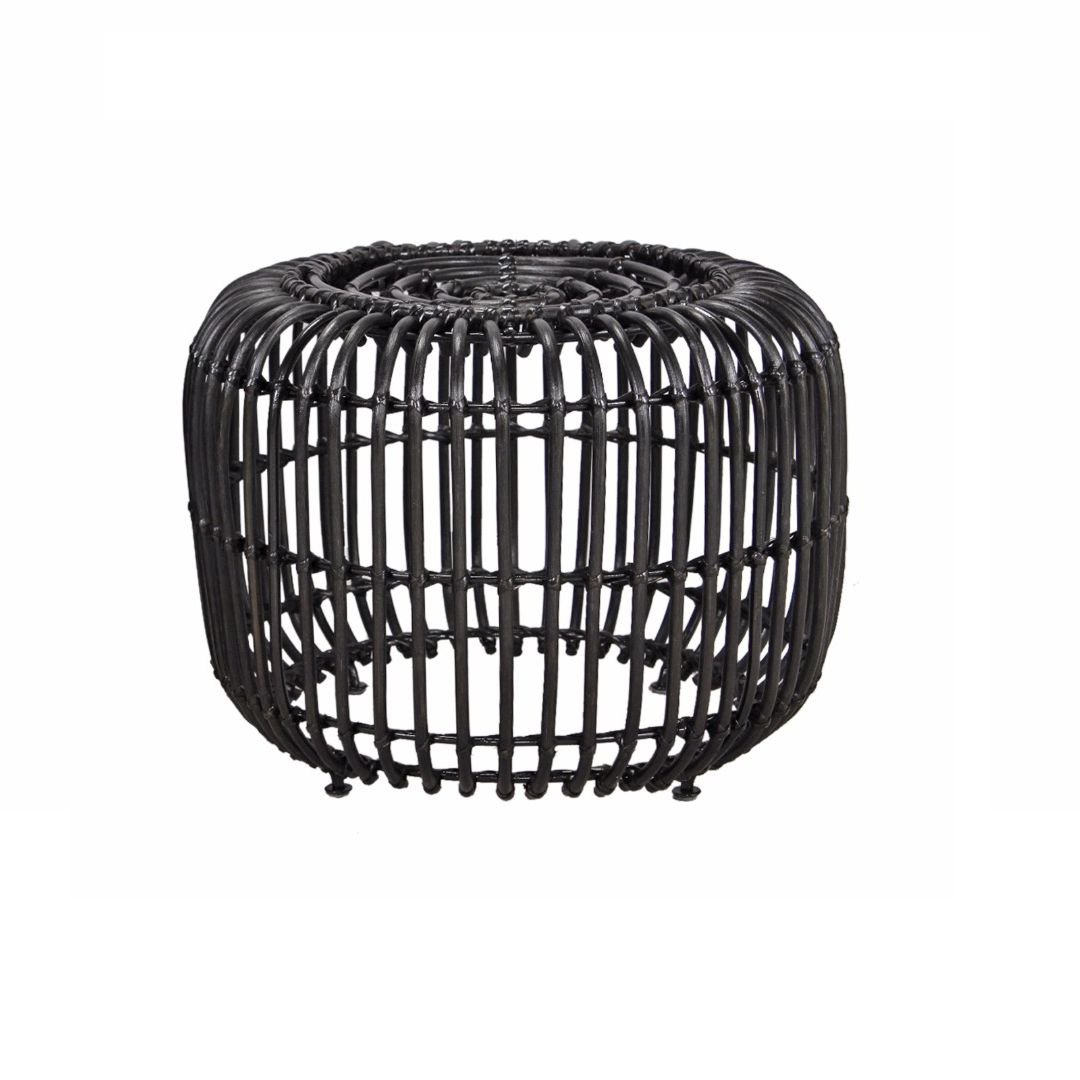 Hocker Feeny - rotan - zwart, Eva Padberg Collection