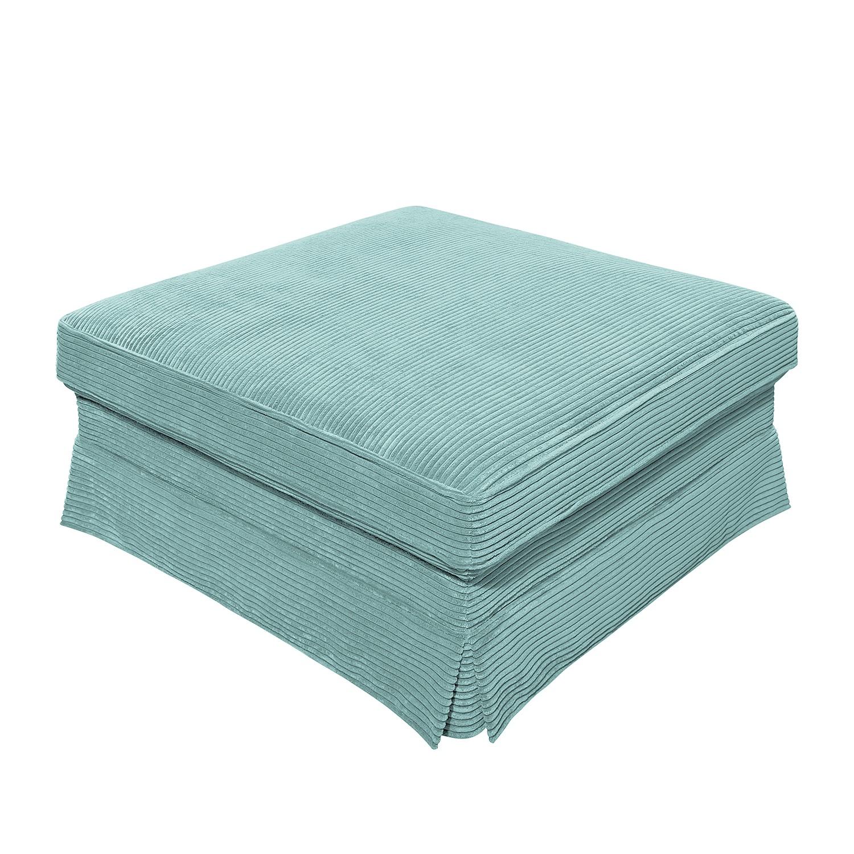 Home 24 - Pouf repose-pieds portol - velours côtelé - baby bleu, maison belfort