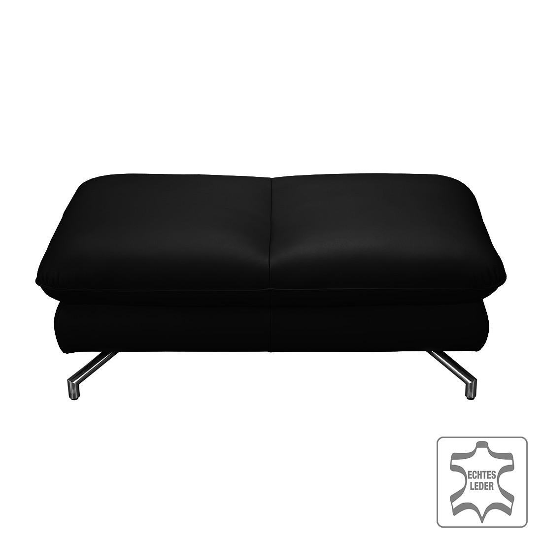 Home 24 - Repose-pieds sharon - cuir véritable - noir, loftscape
