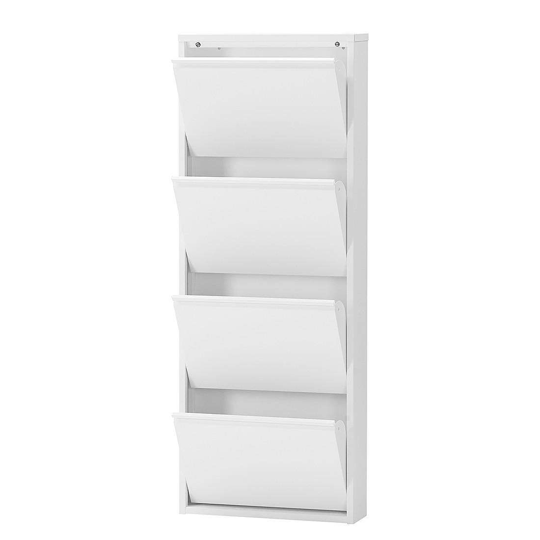 Schoenenkast Cabinet - wit - 4 kleppen, mooved