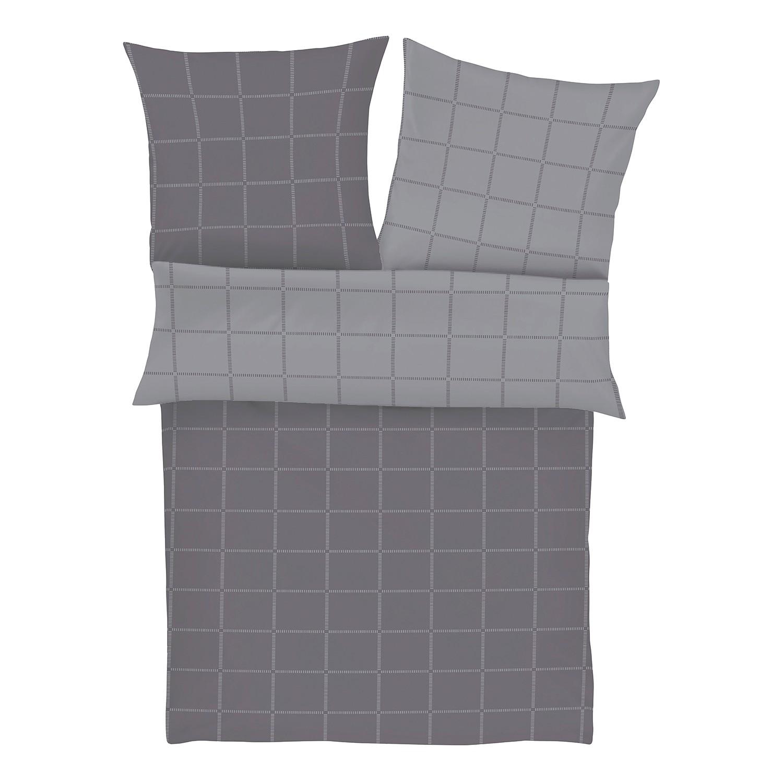 Beddengoed Lambesc - katoen - Antracietkleurig/grijs - 155x220cm + kussen 80x80cm, S Oliver