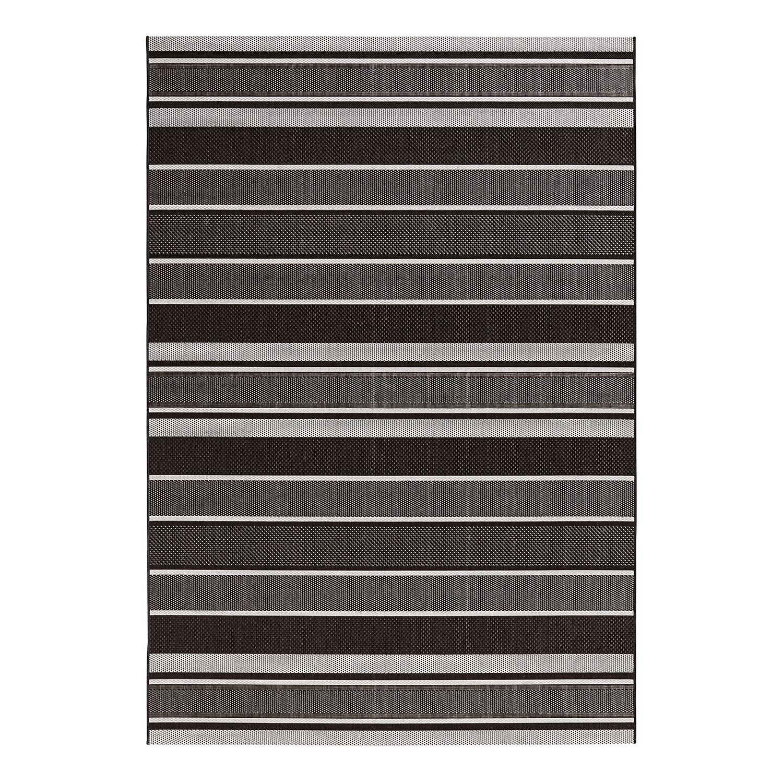 In-/Outdoor-Teppich Strap - Kunstfaser - Schwarz / Grau - 80 x 150 cm, Bougari