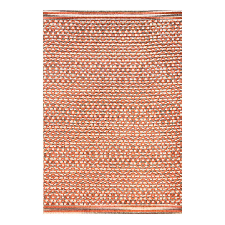 Home 24 - Tapis d intérieur et d extérieur raute - fibres synthétiques - orange / blanc crème - 140 x 200 cm, maison belfort
