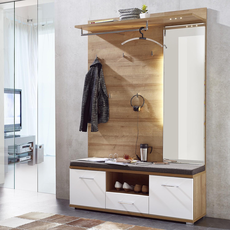 energie  A+, Garderobeset Arcola (2-delig) - inclusief verlichting - Mat wit, loftscape