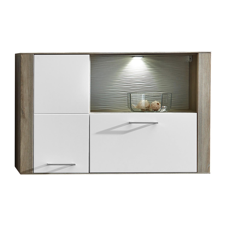 EEK A+, Armoire suspendue Perley (avec éclairage) - Blanc mat / Imitation Grevillea, loftscape