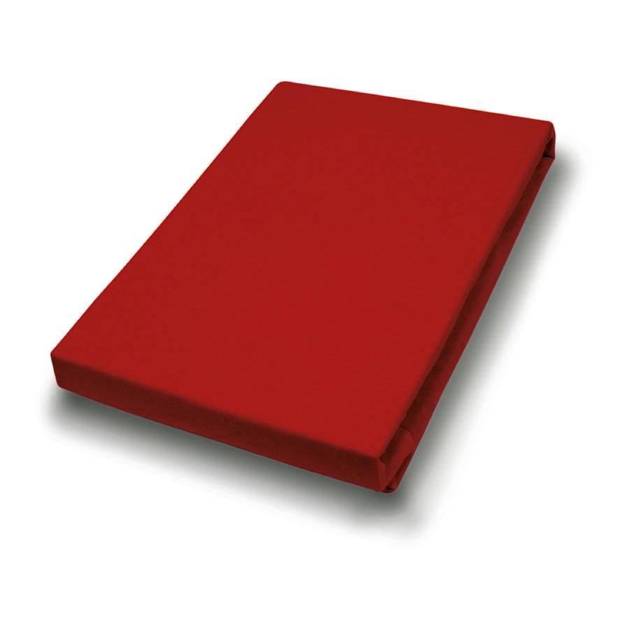 Interlock-microvezel hoeslaken - 125g - rood - 90-100x200cm, vario