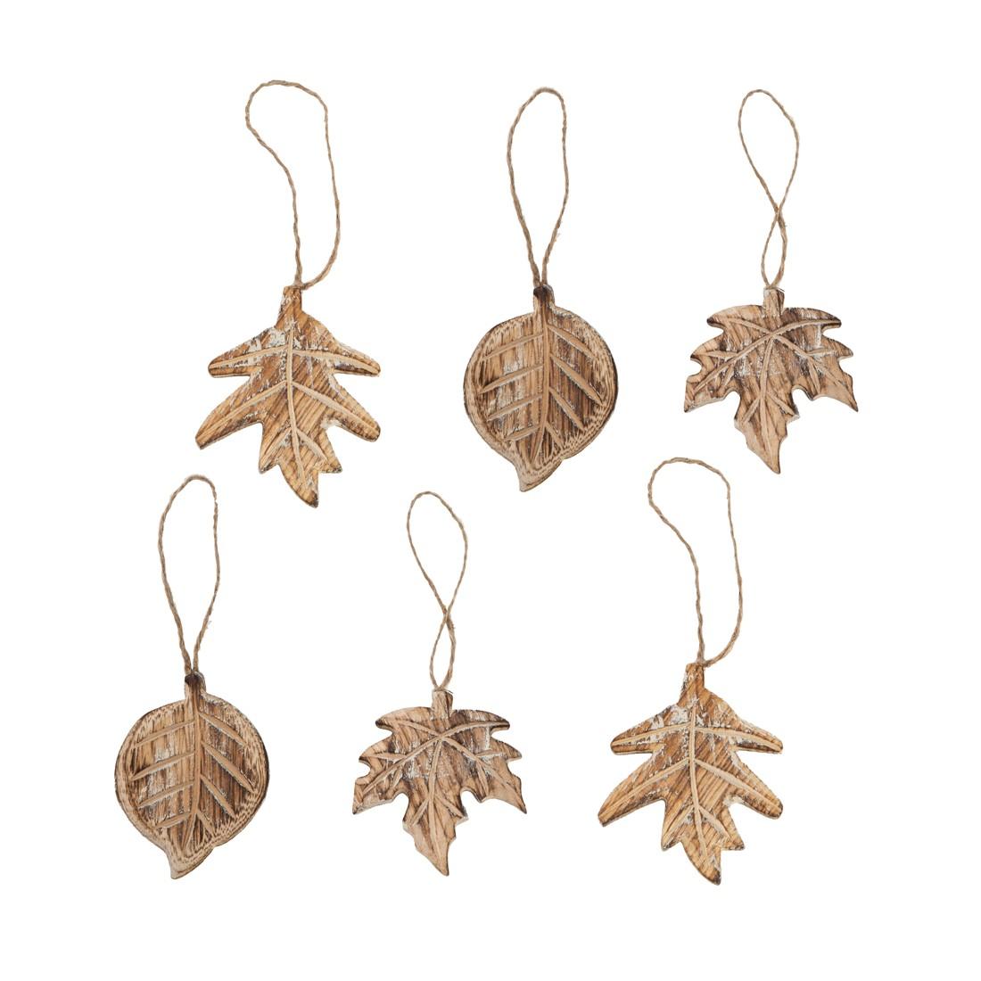 Decoratiehangers Jade - 6-delige set herfstachtig houtkleurig met witte nerven, Home24 Deko