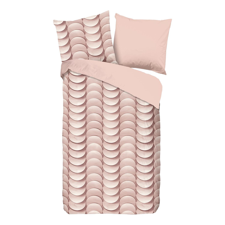 Jersey beddengoed Emerged - katoen - pastel abrikooskleurig/beige - 155x220cm + kussen 80x80cm, Morteens