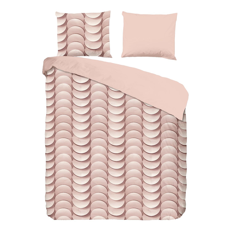Jersey beddengoed Emerged - katoen - pastel abrikooskleurig/beige - 200x200/220cm + 2 kussen 70x60cm, Morteens