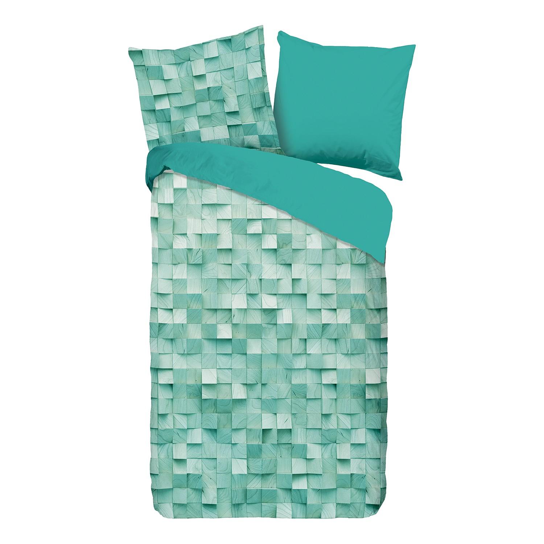 Jersey beddengoed Geometric - katoen - muntkleurig - 155x220cm + kussen 80x80cm, Morteens