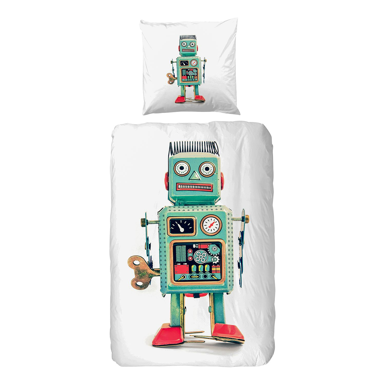 Jersey beddengoed Robot - katoen - meerdere kleuren, Good morning