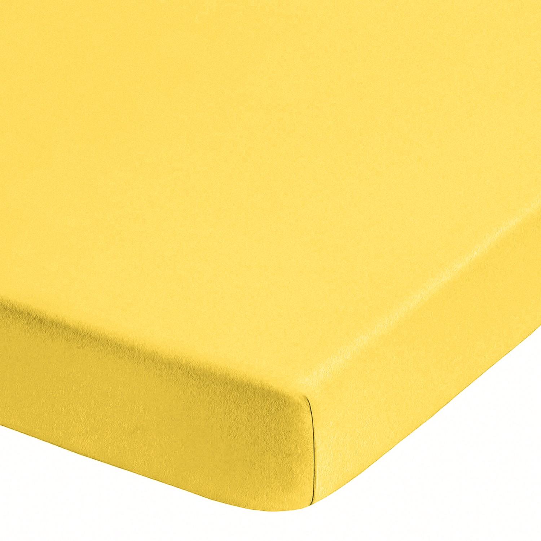Home 24 - Drap-housse en jersey élastique pour boxspring (surmatelas) - jaune - 140 - 160 x 200-220 cm, biberna