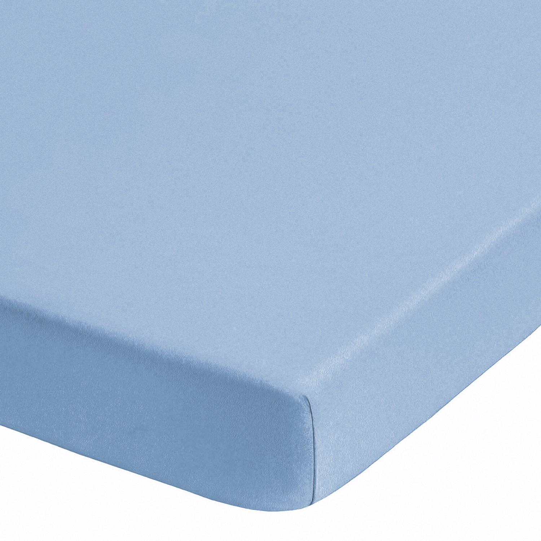 Home 24 - Drap-housse en jersey élastique pour boxspring (surmatelas) - turquoise - 90-100 x 190-220 cm, biberna
