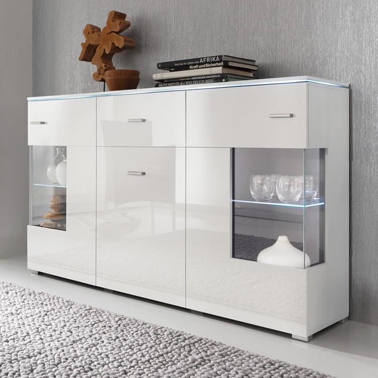 wohnwand mit sideboard weiss hochglanz eiche grau mit. Black Bedroom Furniture Sets. Home Design Ideas