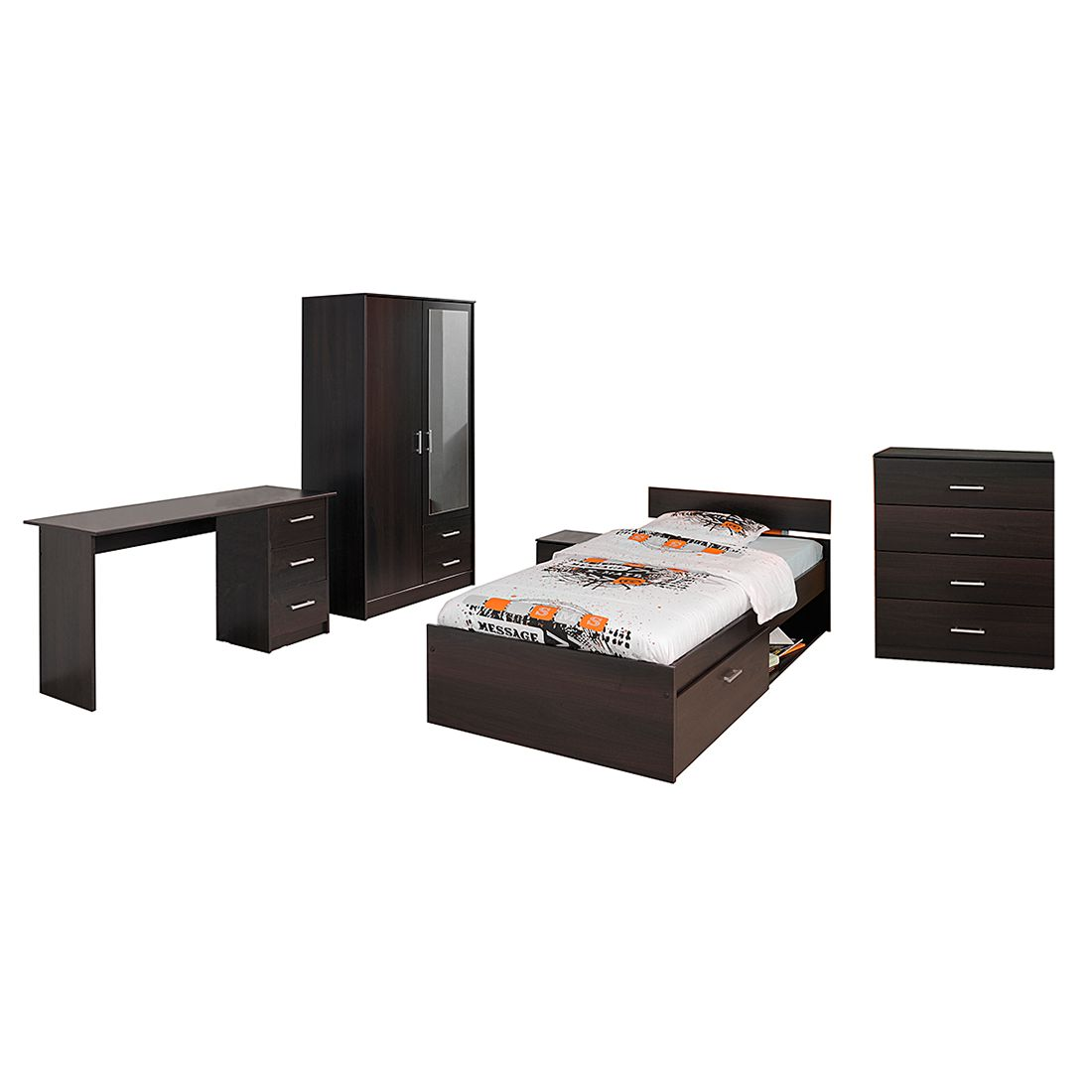 Home 24 - Ensemble de chambre d adolescent infinity (5 éléments) - imitation café, parisot meubles