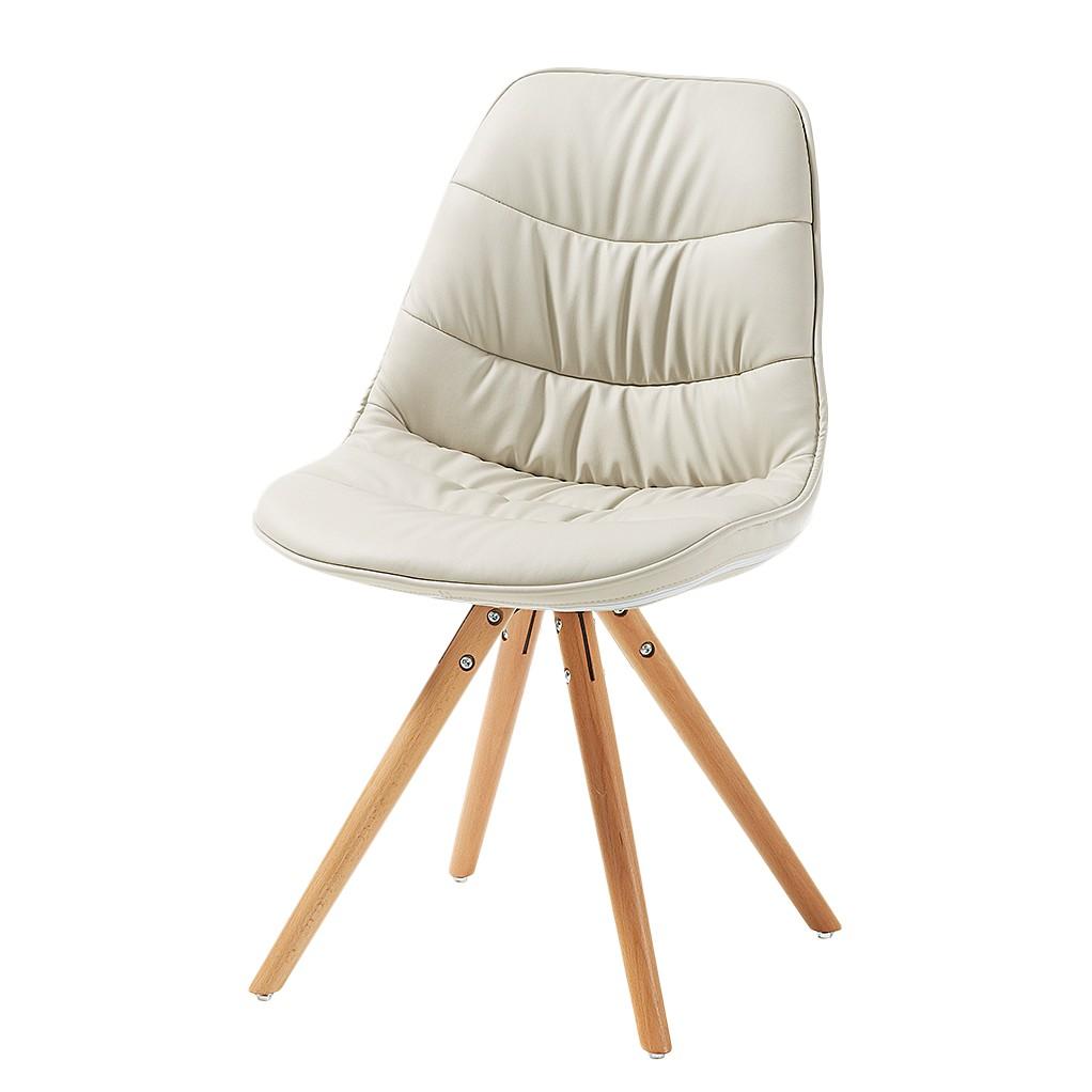Gestoffeerde stoelen Piombino (4-delige set) - massief beukenhout/kunstleer - Beige/natuurlijk beukenhout, Morteens