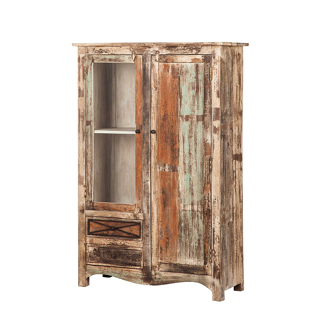 Home 24 - Armoire-vitrine india - manguier massif verni - 2 portes, ars natura
