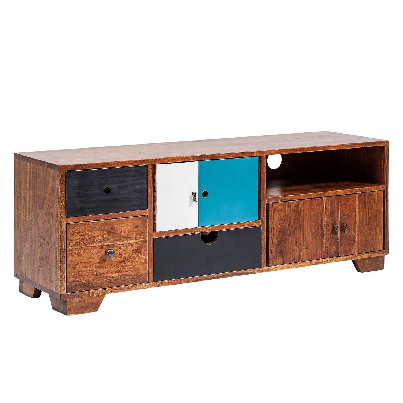 Meuble TV Colorado - Acacia massif - Acacia / Turquoise, Kare Design