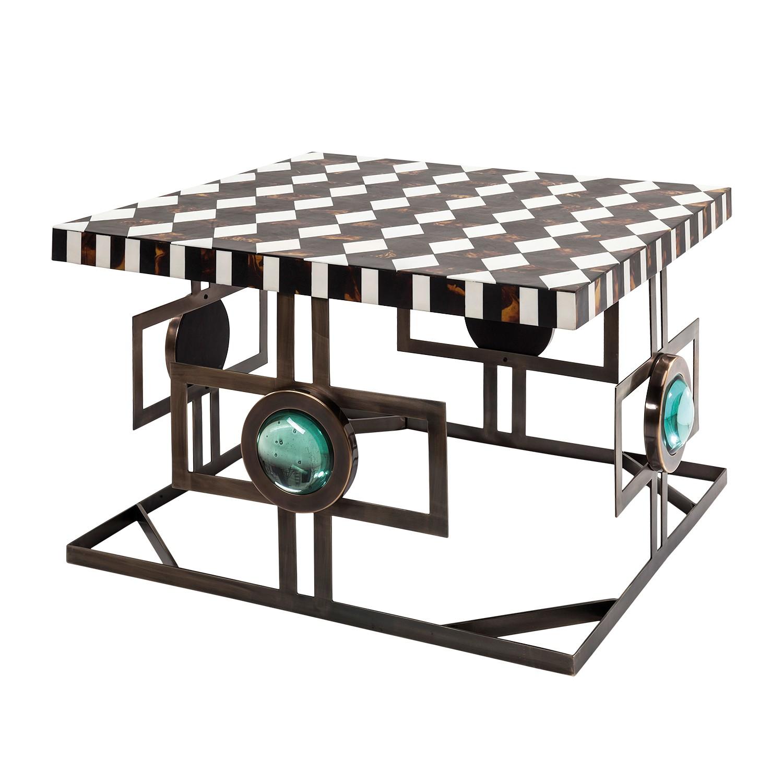 Table basse Musivo Square - Acier inoxydable - Marron / Blanc, Kare Design