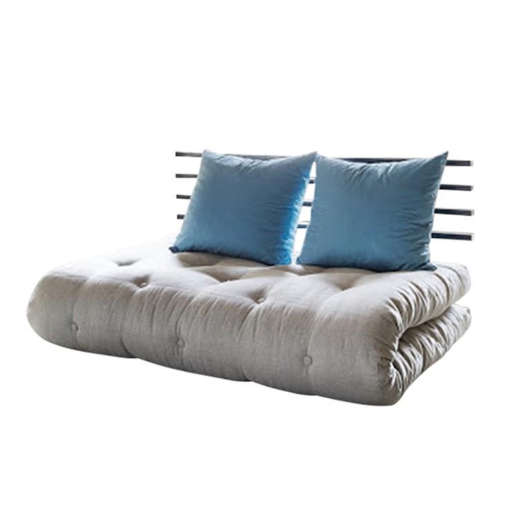 Canapé convertible Shin Sano - Futon beige / bleu Matelas 6 couches de coton et mousse de 4 cm d'épa