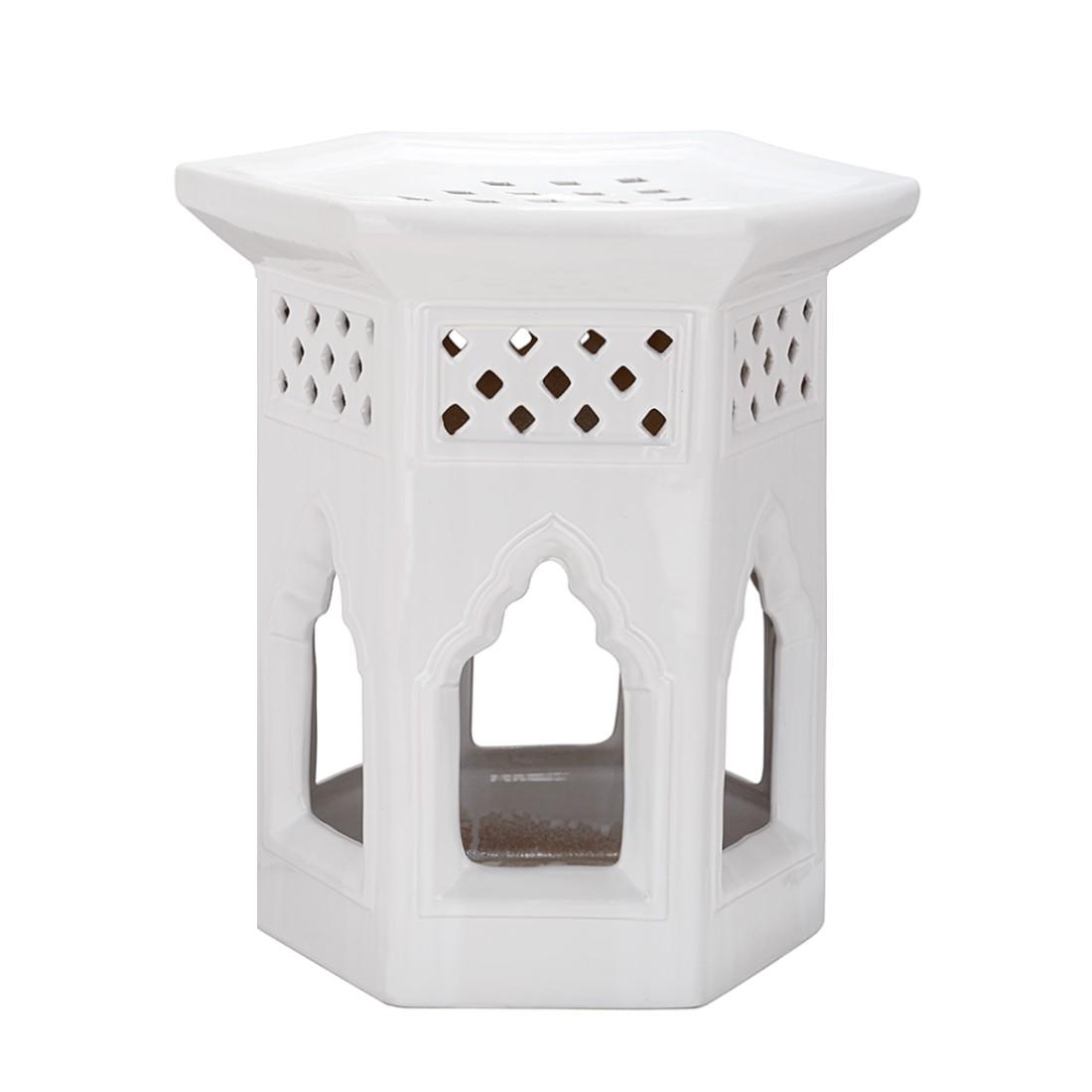 Hocker Marokkanisch - keramiek wit, Safavieh