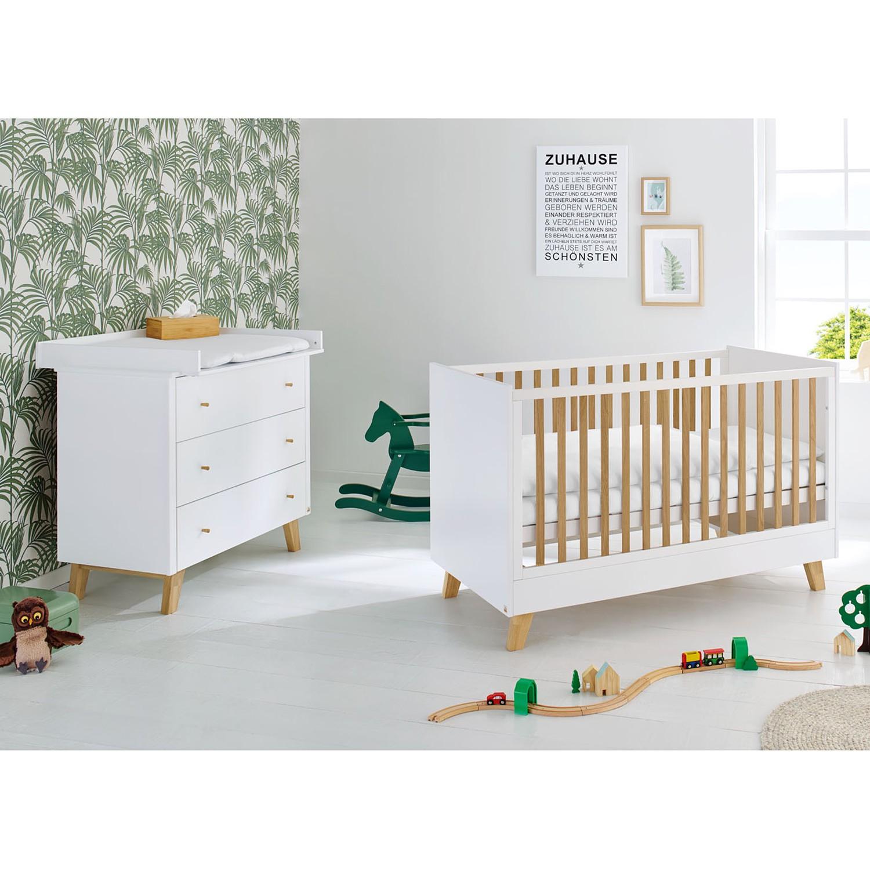 Ensemble de chambre de bébé Pan Kids (2 éléments) - Blanc / Chêne, Pinolino