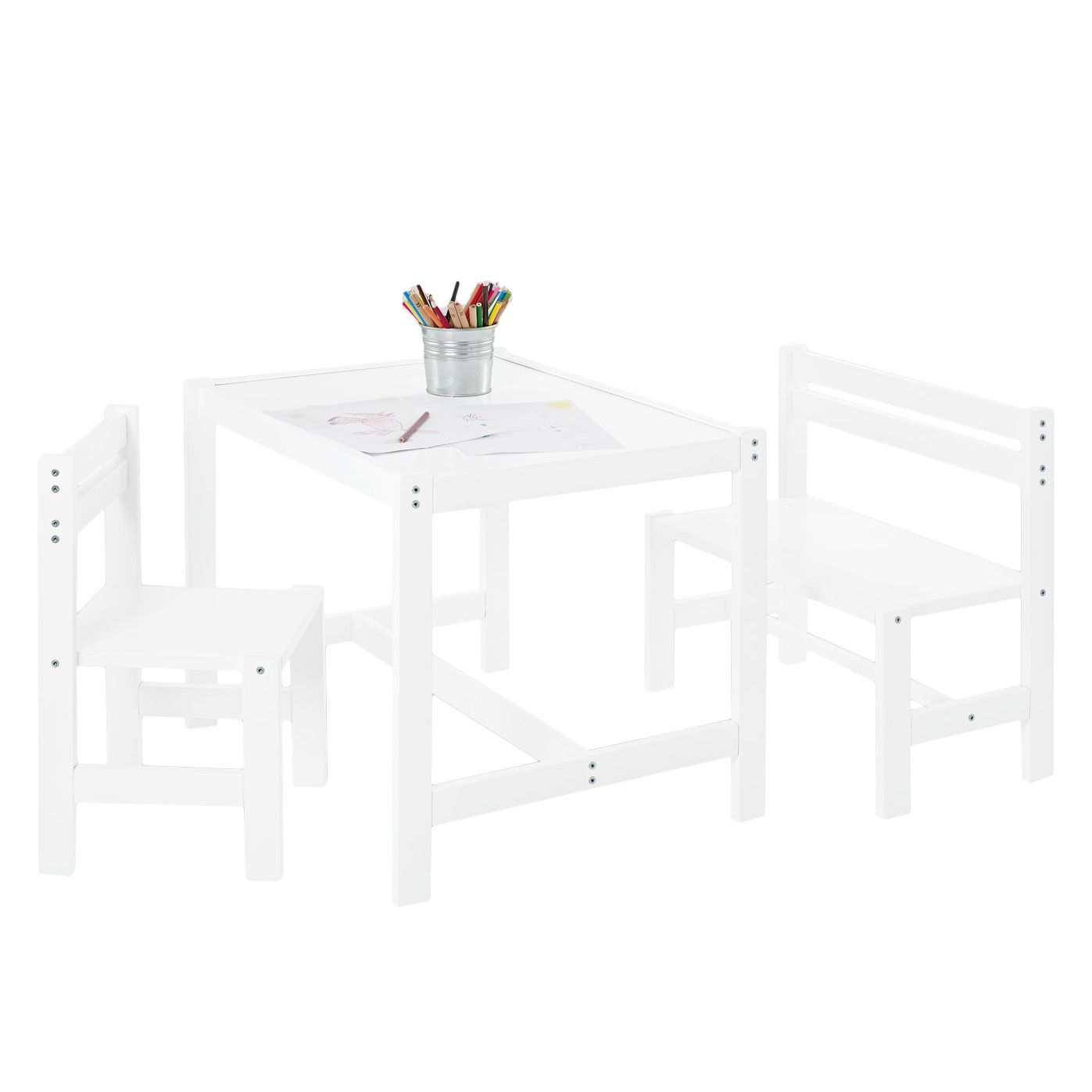 Home 24 - Table enfant timo - 3 éléments, pinolino
