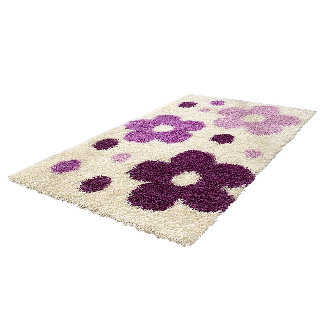 Kinderteppich Blumen - Weiß/Violett, Relita