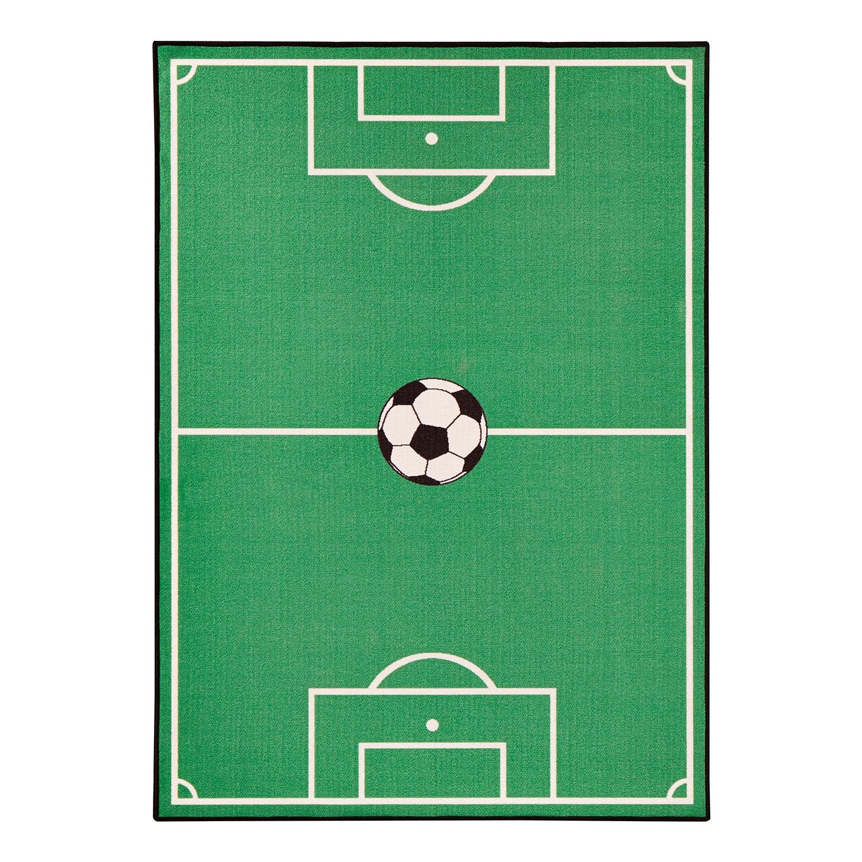 Kindervloerkleed Voetbalveld - kunstvezel - groen - 200x290cm, Zala Living