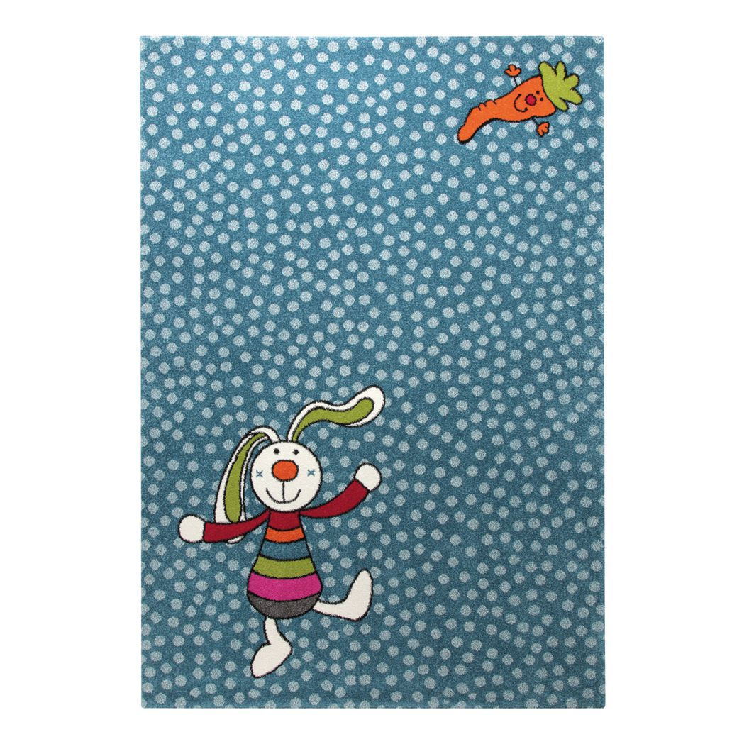 Kinderteppich Rainbow Rabbit - Blau - 80 x 150 cm, Sigikid
