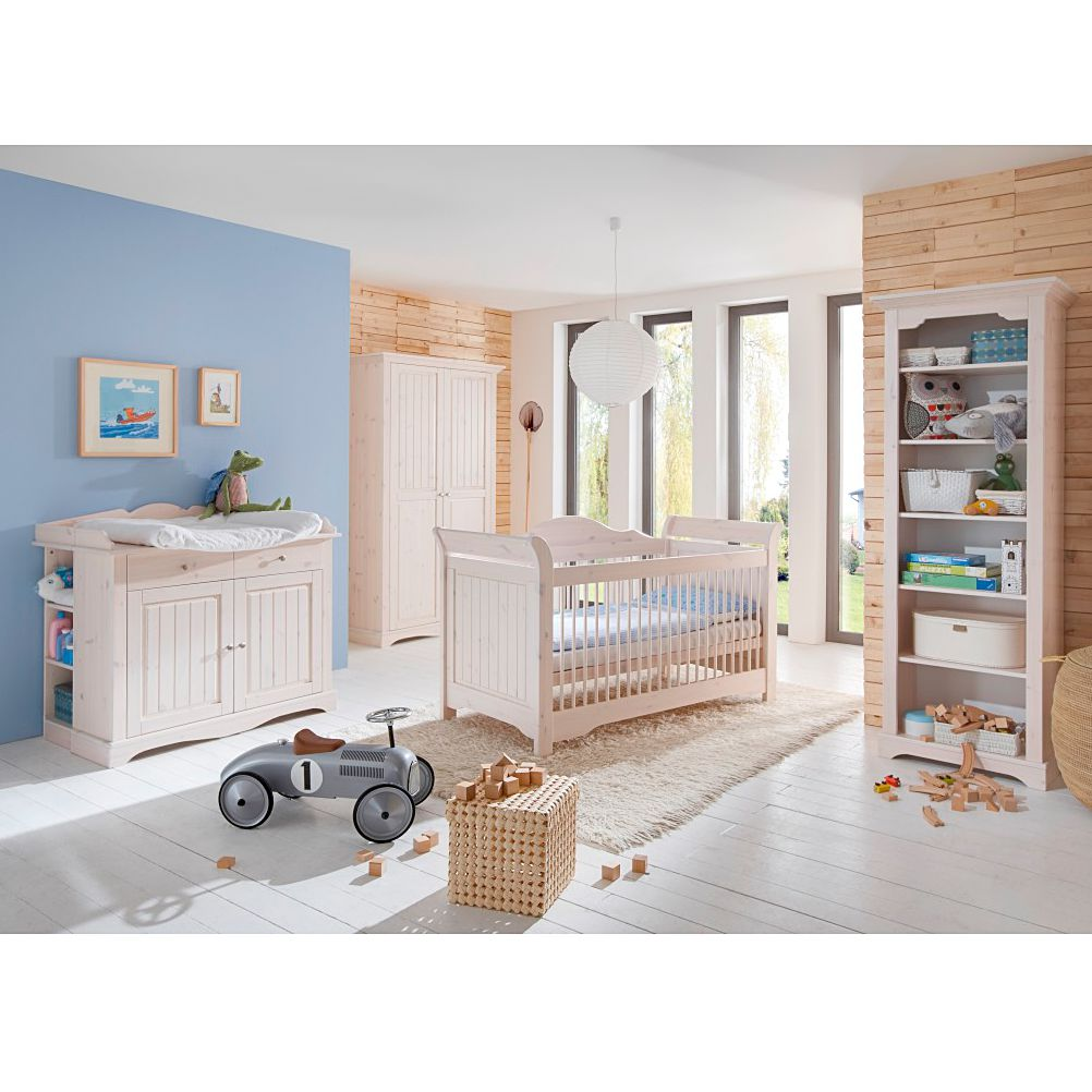 Ensemble de meubles pour chambre d'enfant Karlotta (4 éléments) - Pin / Blanc lavé, Steens
