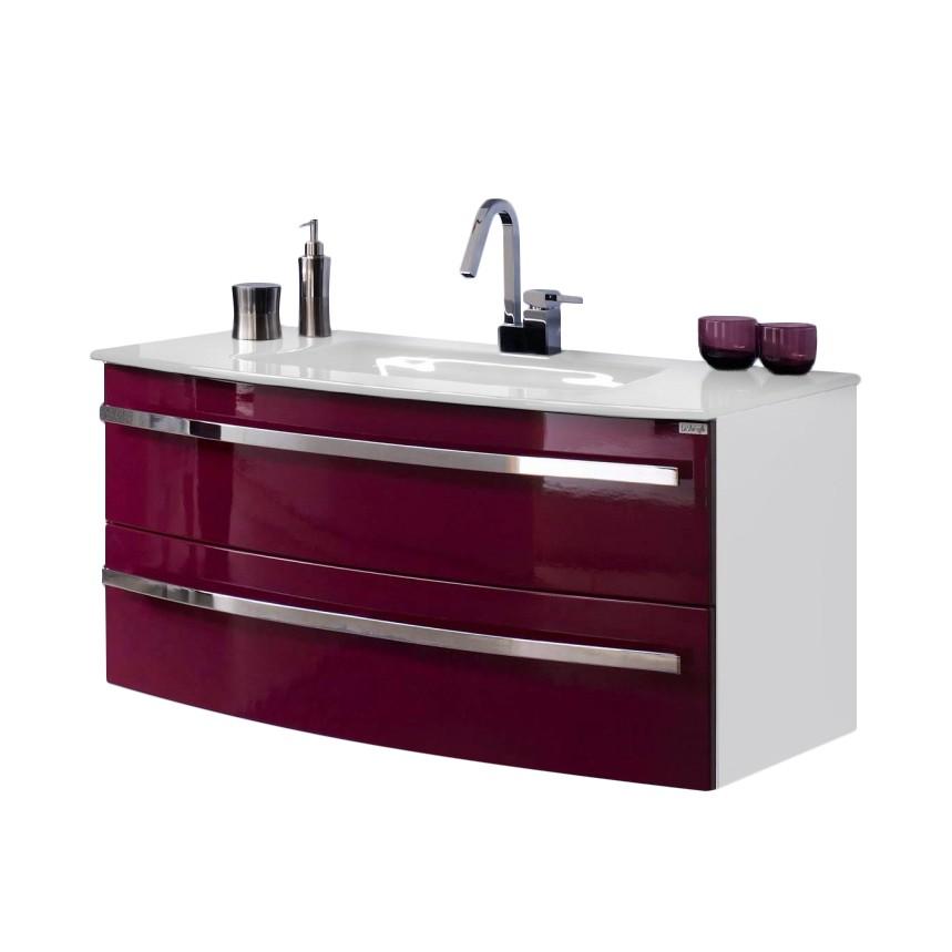 Home 24 - Meuble lavabo kingston - blanc / mûre brillant, aqua suite