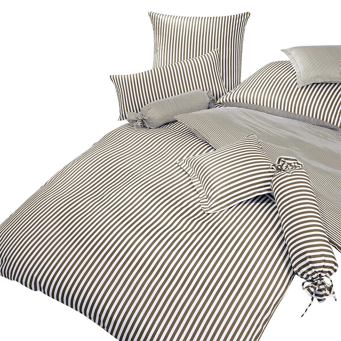 Home 24 - Taie d oreiller classic i - marron / blanc - 80 x 80 cm, janine