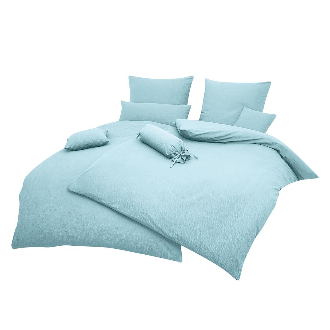 Home 24 - Taie d oreiller piano uni - bleu brillant - 80 x 80 cm, janine