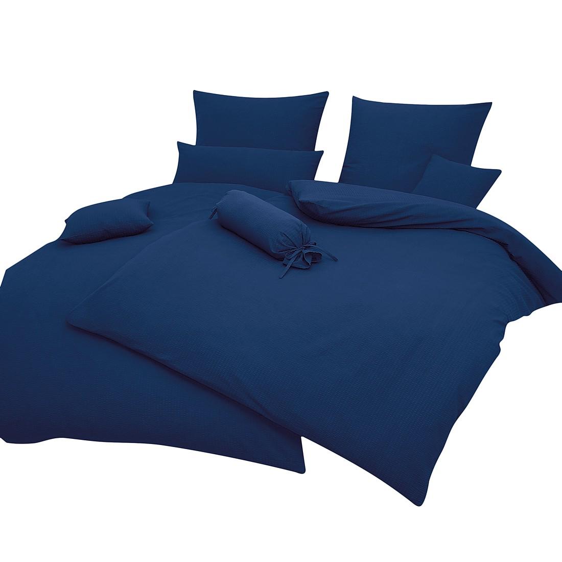Home 24 - Taie d oreiller piano uni - bleu marine - 40 x 80 cm, janine