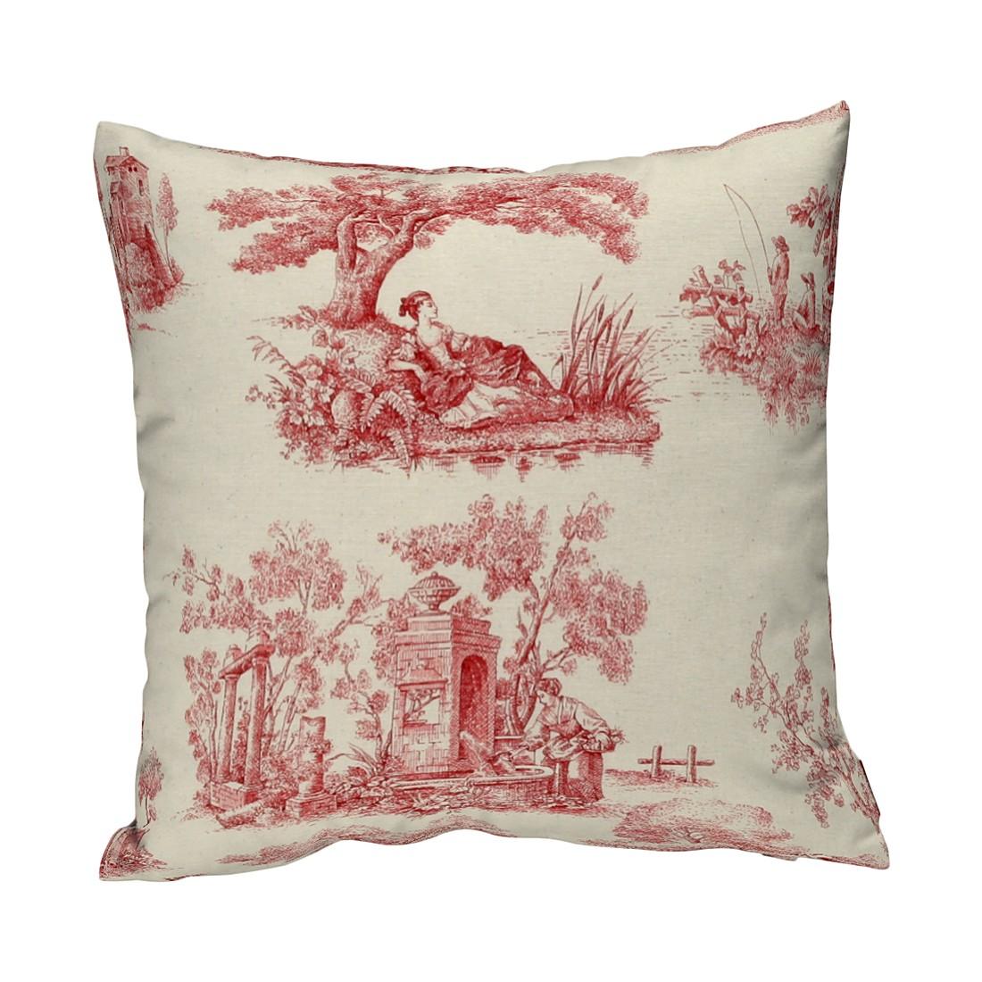 Home 24 - Housse de coussin - ecru / motif rouge - 60 x 60 cm, dekoria