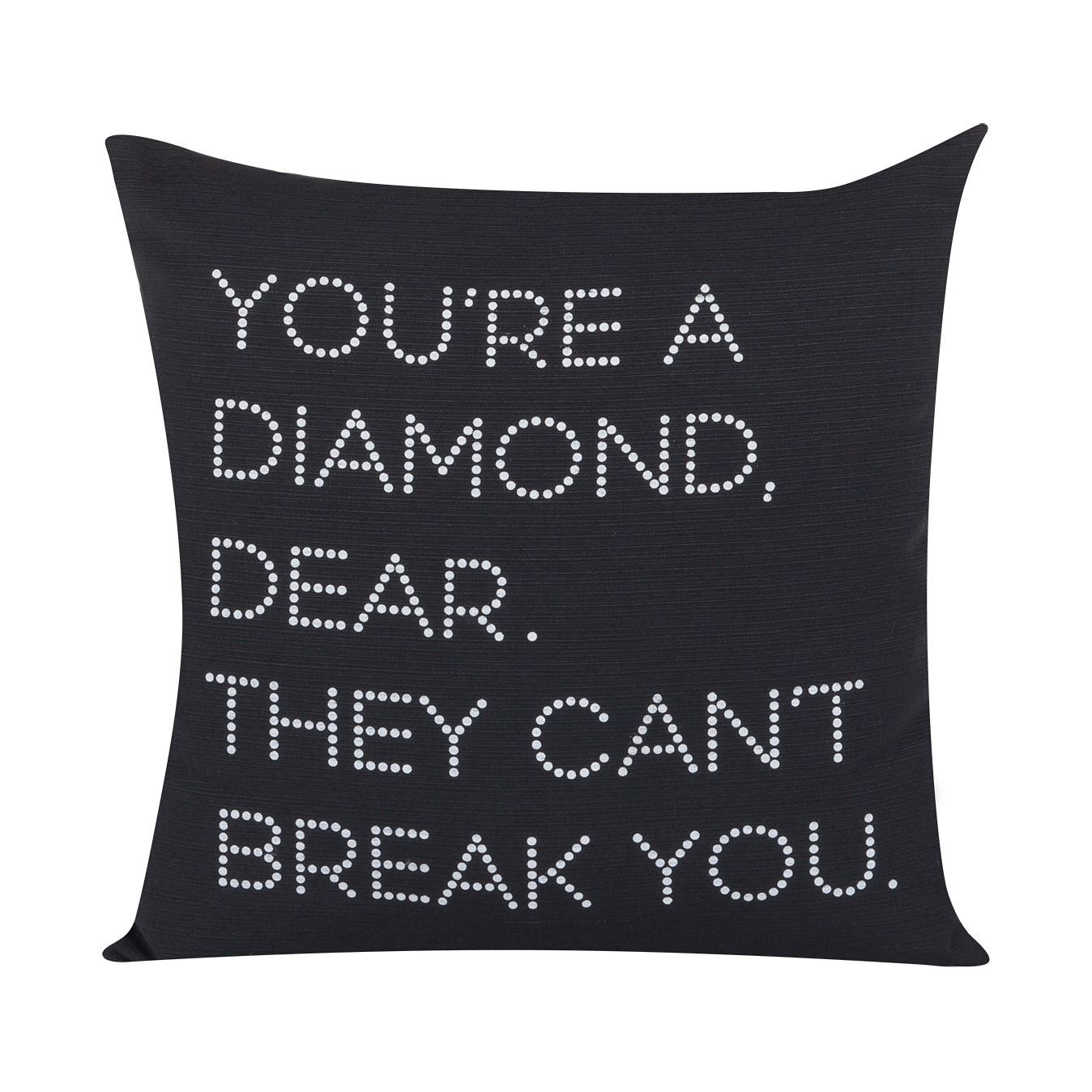 Kussenhoes Breaking Diamonds - wit - Zwart, Morteens