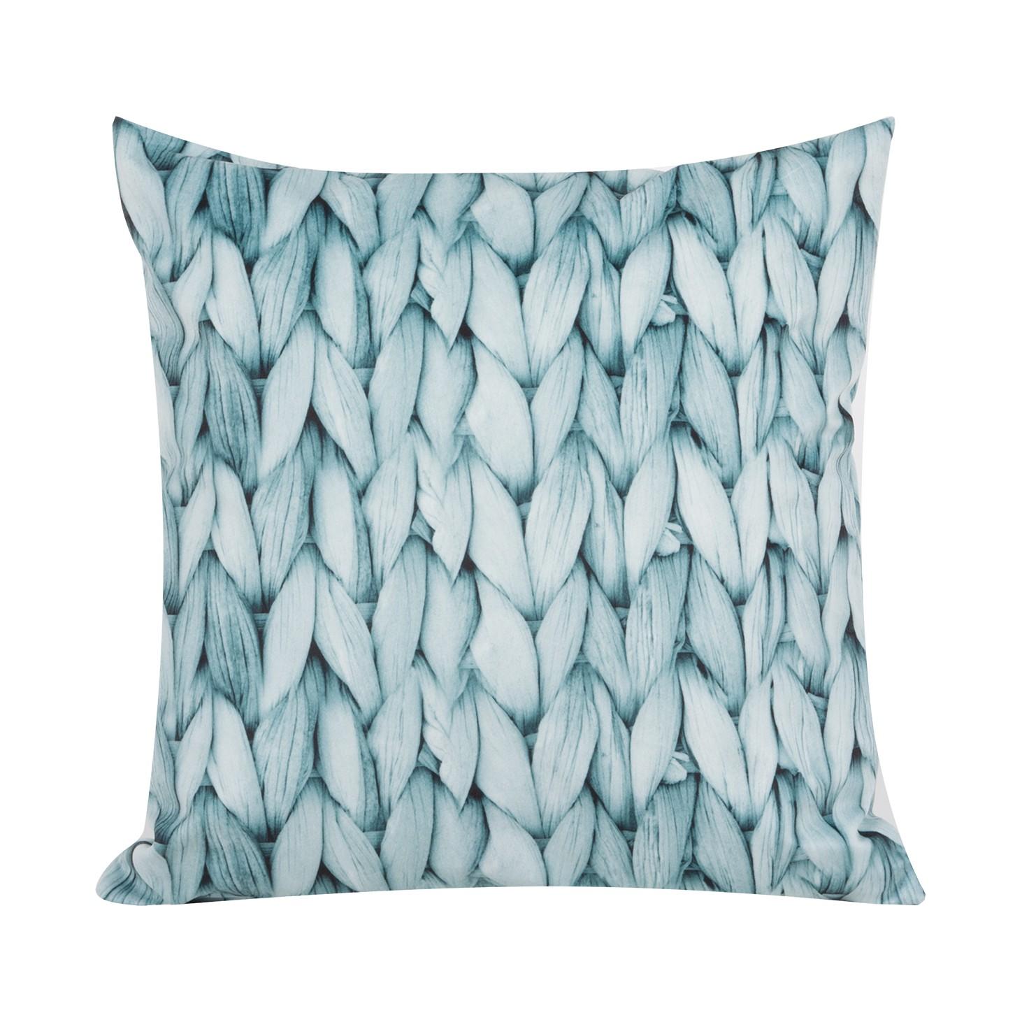 Kussensloop Knitting - grijsblauw 40x40cm - Grijsblauw - 50x50cm, Morteens