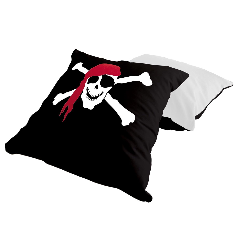 Kissenset Pirat - Schwarz / Weiß, Ticaa