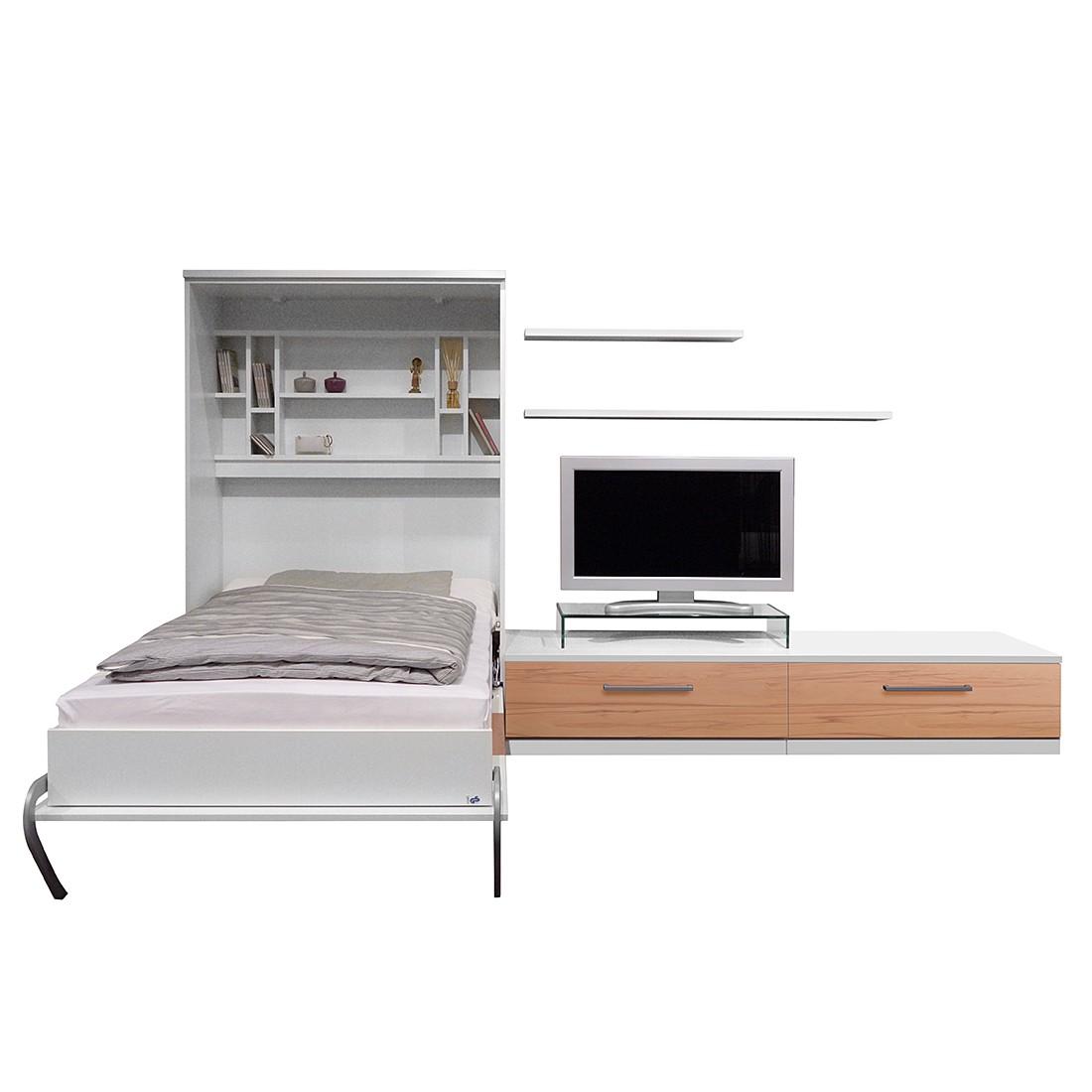 Wandklapbed combinatie Majano - 140 x 205 cm - Schuimstofmatras - Wit/kernbeukenhout, loftscape