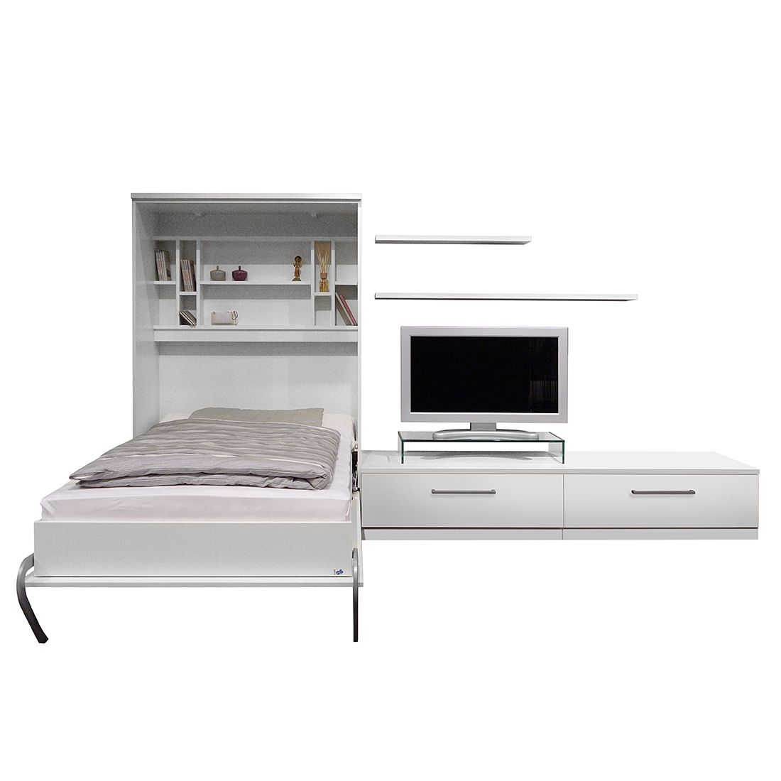 schrankbett kombination majano 86 x 205cm schaumstoffmatratze wei modoform g nstig. Black Bedroom Furniture Sets. Home Design Ideas