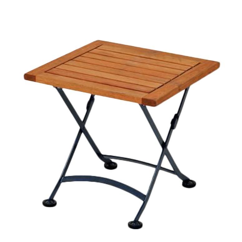 tabouret pliable schlossgarten acier plat bois d 39 eucalyptus noir marron naturel merxx. Black Bedroom Furniture Sets. Home Design Ideas