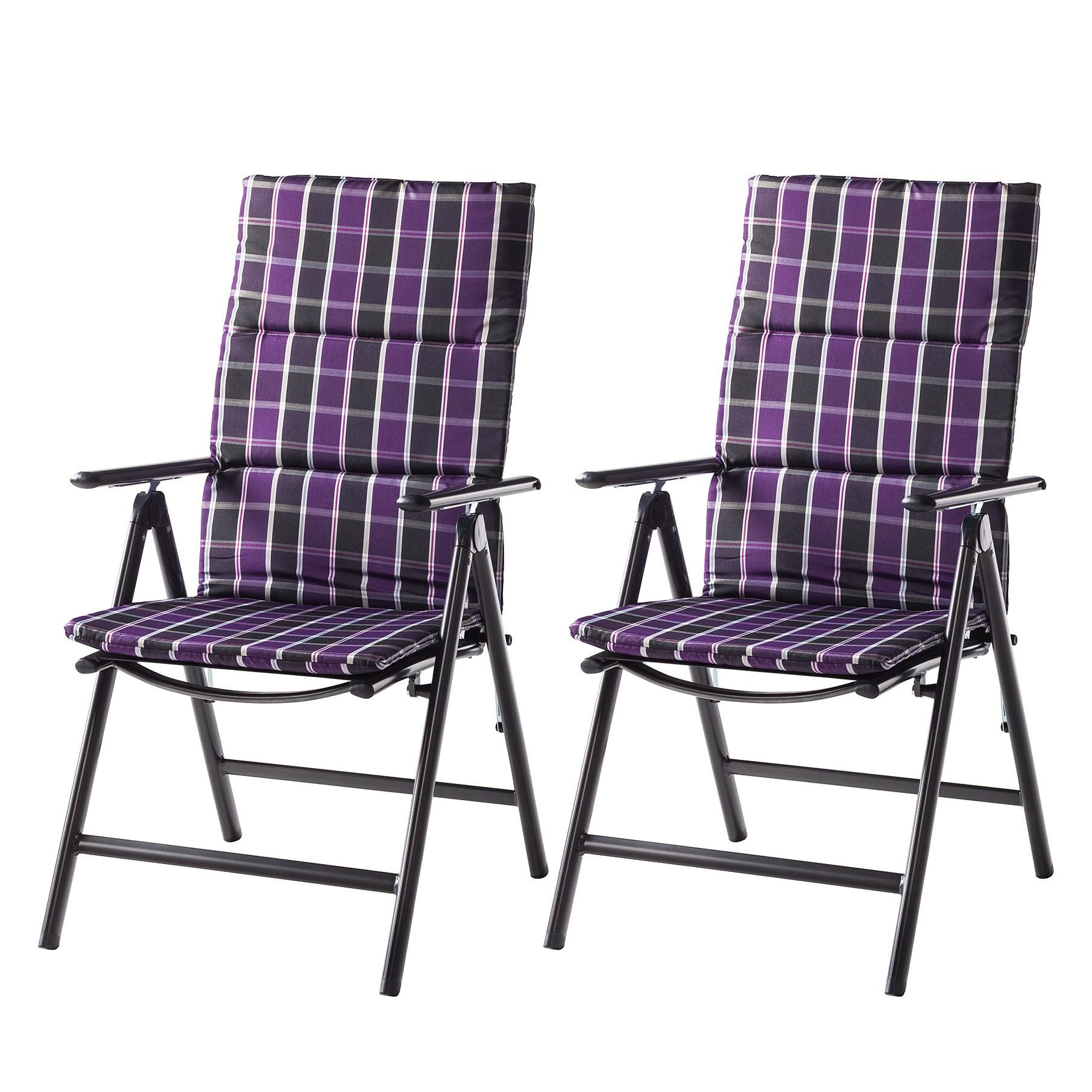 Klapstoelen Lübeck (2-delige set) - aluminium/geweven stof - zwart/paars, Merxx