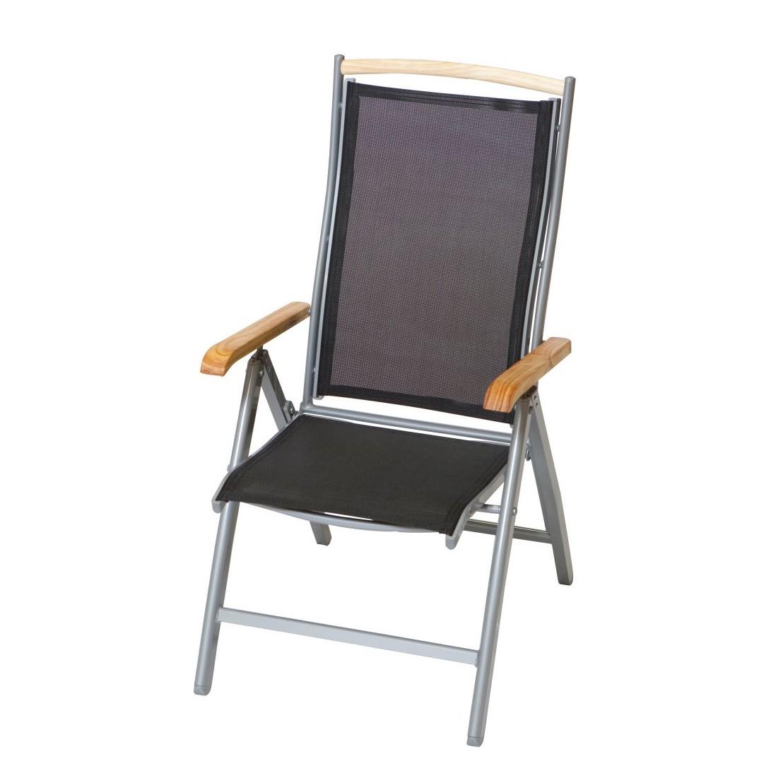 Home 24 - Chaise pliable siena - aluminium / tissu synthétique - argenté / noir, merxx