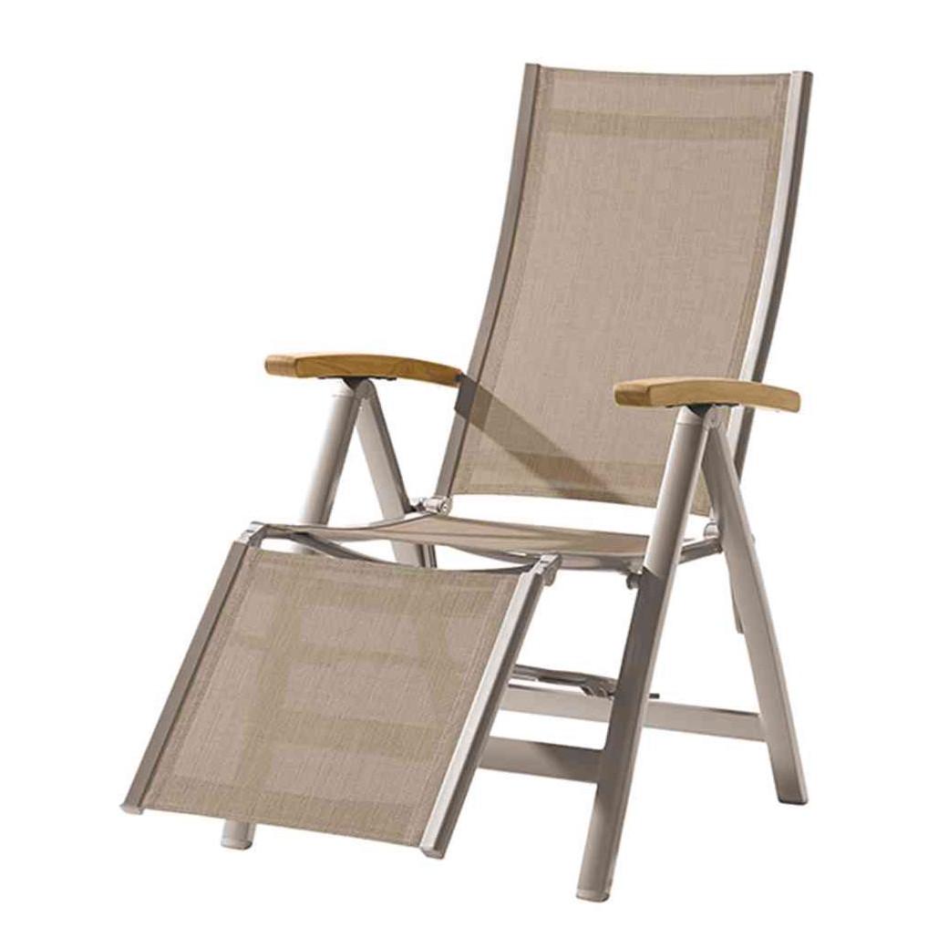 Klappstuhl Toledo Relax - Aluminium / Textilene - Champagner / Natur, Siena Garden