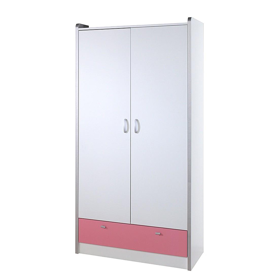 Kleiderschrank Bonny - Weiß/Rosa, Relita