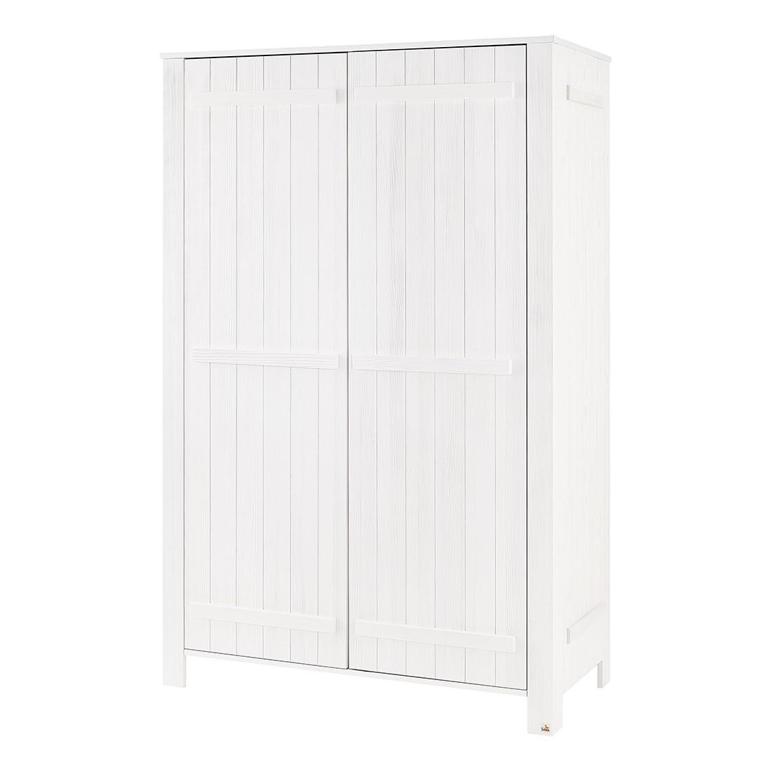 Armoire à vêtements County (2 portes) - Pin - Blanc - Lasuré, Pinolino
